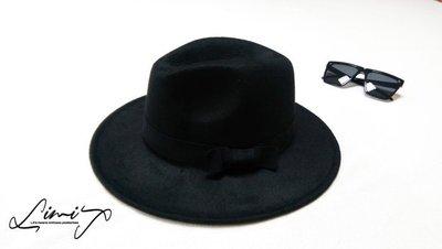 黑色可調寬沿紳士帽 Wide brim hat 歐美 百搭 古著 復古 毛呢 寬沿 大帽簷 【LtLf】