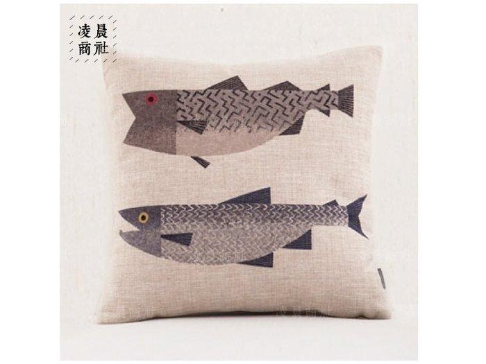 凌晨商社 //北歐zakka小清新花鳥魚森林亞麻抱枕  創意禮物 居家擺設 兩隻魚下標區
