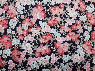 手工純棉印花棉布 140x50cm 全棉燙金布料 日本風格印花布 和風燙金