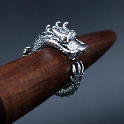 銀革手作 925 純銀 紅鋯石 立體 飛龍 戒指