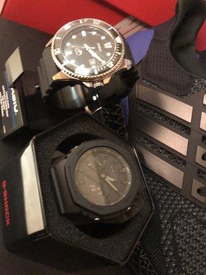 全新 Casio G-Shock GA-2100-1A1 手錶 200米 防水 碳纖維 超薄 雙顯 AP 皇家橡樹 暗黑