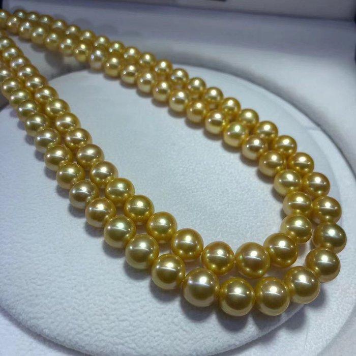 (輕舞飛揚)天然海水南洋金珠項鍊,頂級珠寶級珠光~珠光寶氣貴氣優雅時尚正圓強光無暇,珠珠直徑9-10mm