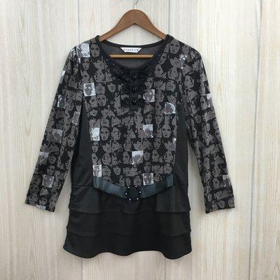 【愛莎&嵐】YUPPIE 女 人像印花長袖上衣 / 13 1080320