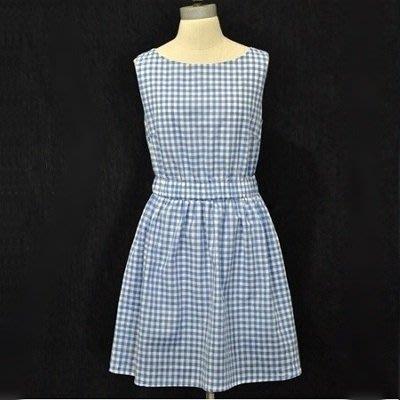 無袖洋裝 連衣裙(零碼賠售出清、恕不退換)-時尚藍色格子優雅連身裙56s19[獨家進口][米蘭精品]
