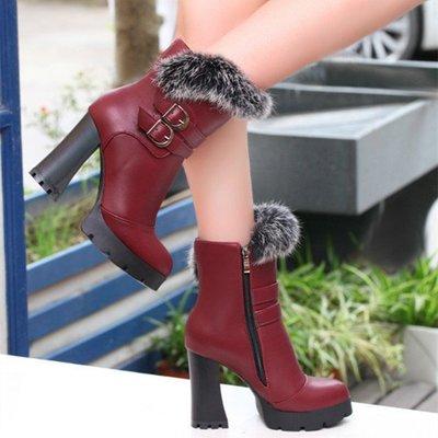 【絕品好店】韓版女靴子超高跟OL時尚厚底馬丁靴粗跟裸靴秋冬季防水臺女鞋