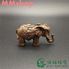 -/7#銅大象小擺件純實心銅精工福象銅藝手把茶道銅寵仿古包漿古玩銅器**&LL