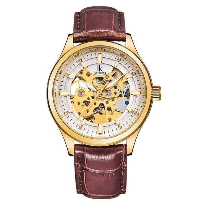 YEAHSHOP 機械手錶 全自動機械休閒時尚男士鏤空皮帶Y185