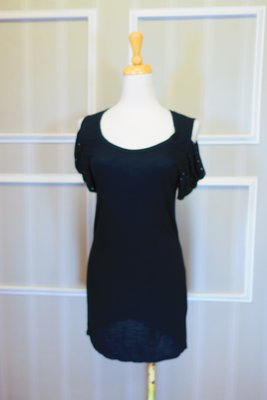 *beauty*  ARMANI EXCHANGE黑色露肩碎鑽短袖洋裝  S號 原價3390元  特價 1500  元