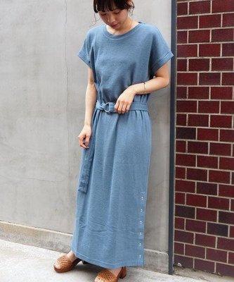 [ BARGAIN ] 全新,日單,TIP TOP,(藍色)華夫格下襬單側鈕釦短袖洋裝,33%綿