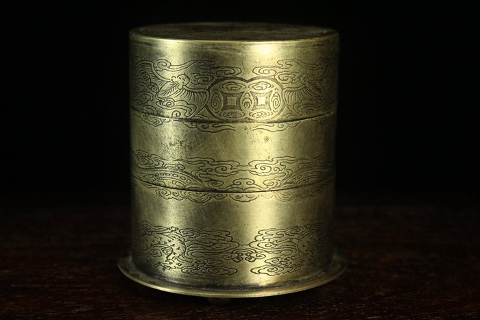 悅年堂 --- 白銅 五福捧壽圖 三層盒