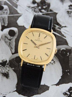 原裝真品 Zenith 真力時 先力 正18K金 750 典藏手上鍊機械古董錶 男錶 女錶 中性錶