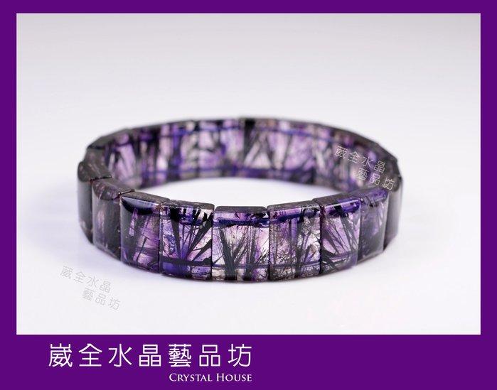 【崴全水晶】天然 三輪骨幹 紫超七 能量 水晶 手鍊 【14x10mm】 手珠 飾品 ※ 送禮好選擇