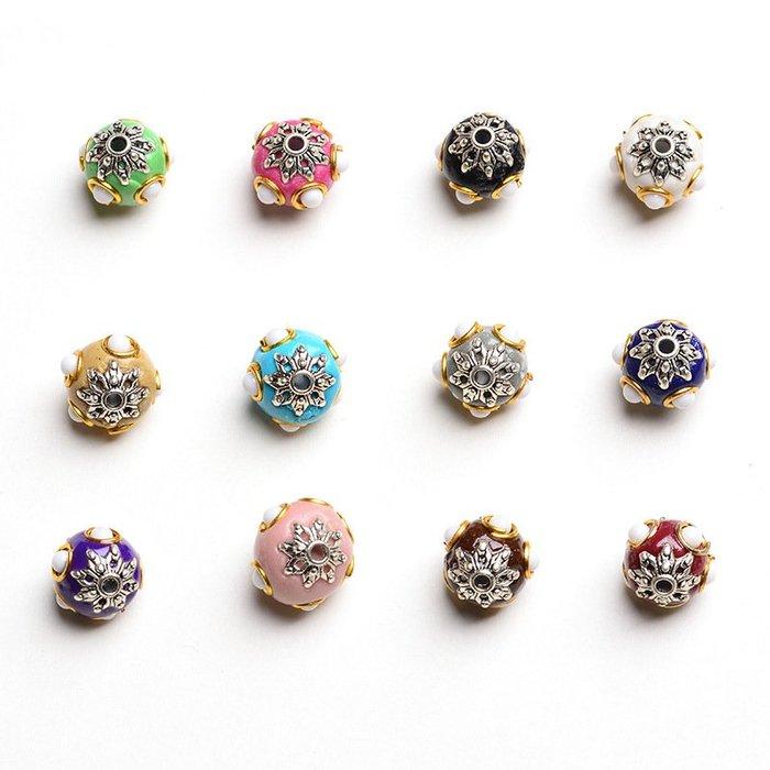 合金景泰藍珠子純銅滴油diy飾品手鏈項鏈隔珠手工配件材料散珠圓