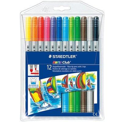 {阿治嬤} 德國 施德樓 STAEDTLER 快樂學園雙頭水易洗彩色筆12色組 MS320NWP12