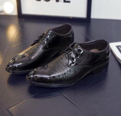 男士商務正裝皮鞋男漆皮尖頭