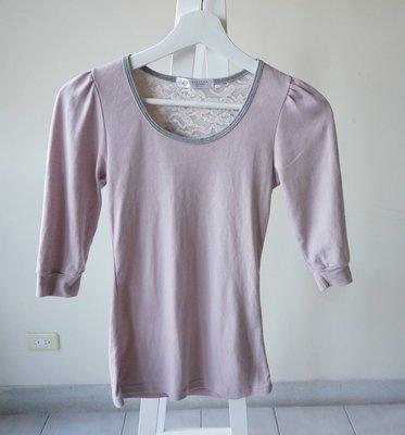 轉賣 韓國七分袖素面公主袖上衣 藕粉色 sizeS