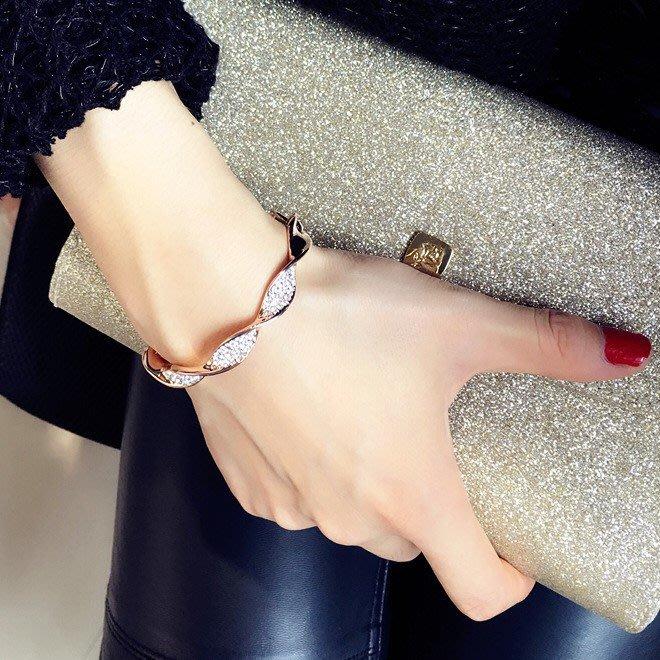 歐美范兒幾何圖形波浪紋設計水晶鑲鑽手鍊 手環