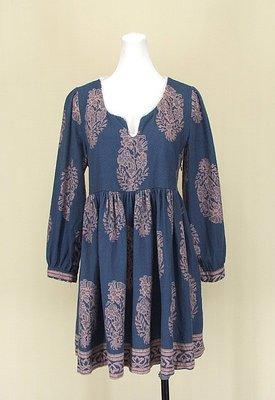 貞新二手衣 SALON DE SISTER 寶藍異國風圓領長袖棉質洋裝F號(82332)