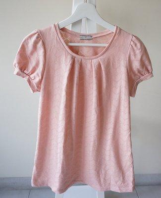 轉賣 日貨愛心格短袖上衣 粉色 sizeS