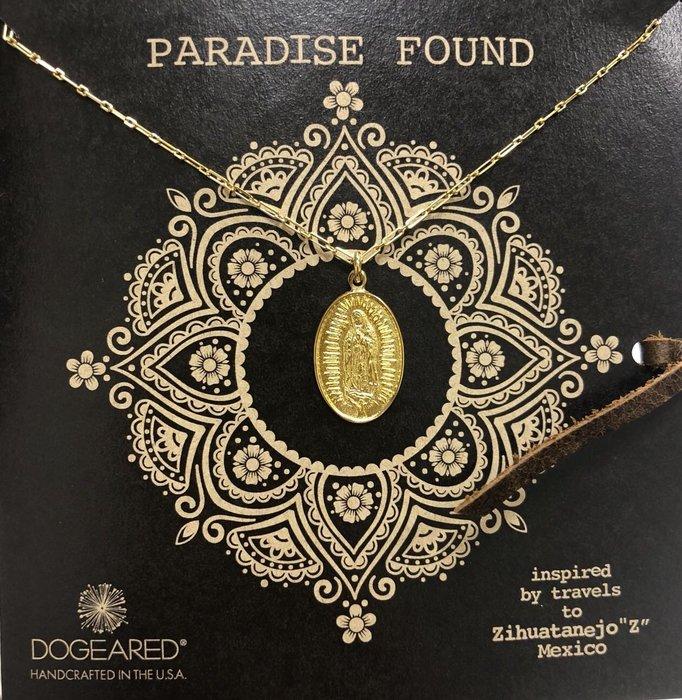 Dogeared 台北ShopSmart直營店 瑪利亞錢幣項鍊 金色橢圓形硬幣項鍊 附原廠盒