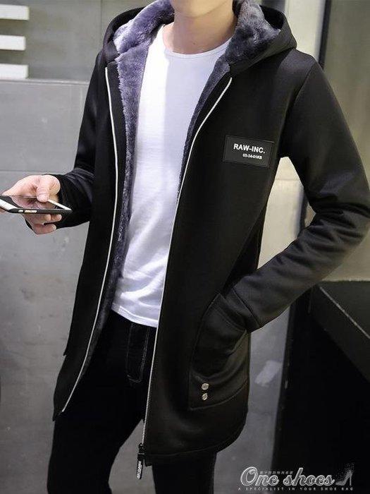 外套男 風衣男中長款韓版新款秋冬季加絨加厚大衣潮流修身連帽外套男