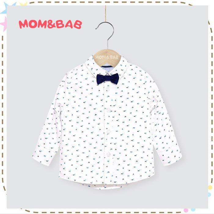 貝克比比屋☆秋天 mom and bab 精梳純棉領結襯衫/長袖襯衫*24m、3T、4T、5T、6T