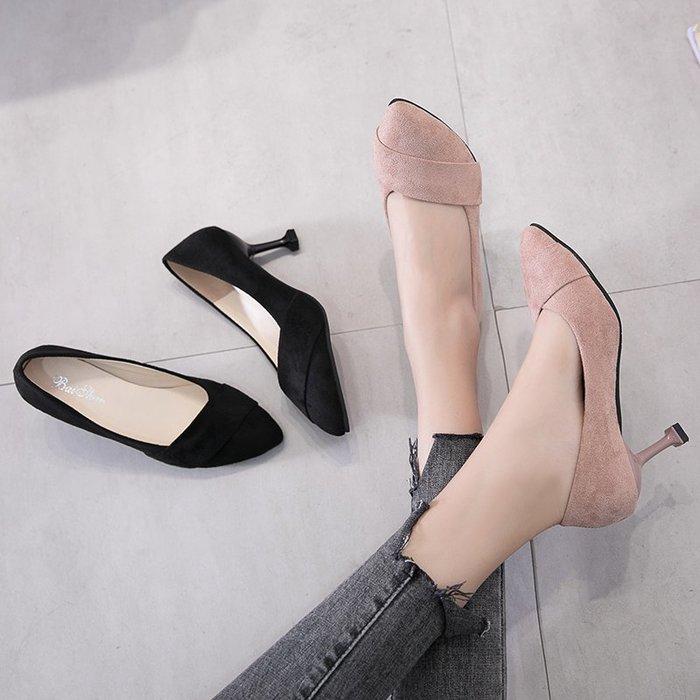小清新高跟鞋子少女公主2019新款百搭5cm貓跟鞋單鞋網紅抖音細跟性感高跟鞋