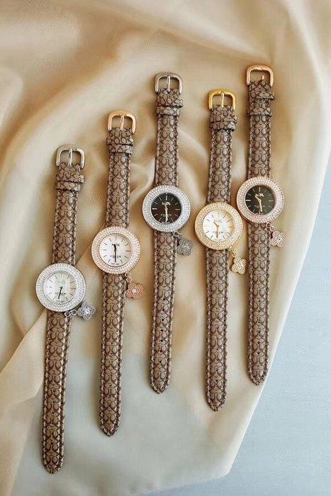 NaNa代購 COACH 手錶 帆布錶帶 五色可選 天然貝母錶面 經典馬車LOGO  附帶四葉草吊飾 附禮品盒