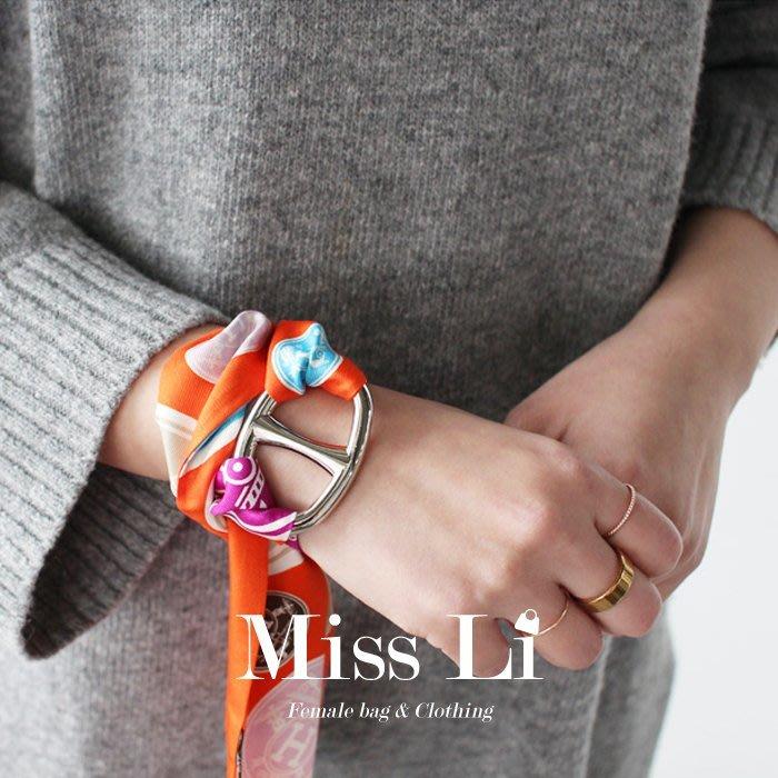 Miss Li【AC1】H型日字型經典款多用途絲巾環絲巾扣 進口鈦鋼鍍18K