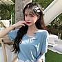 小香風 短袖T恤 時尚穿搭 韓版 法式小眾少女時尚氣質短袖小U領T恤洋氣上衣女裝