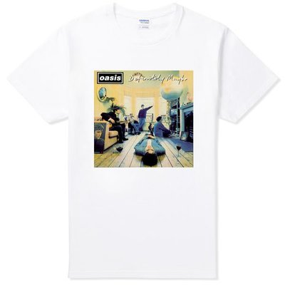 Oasis-Definitely Maybe 短袖T恤 白色 綠洲 英國 英搖 樂團 圖案 搖滾 punk