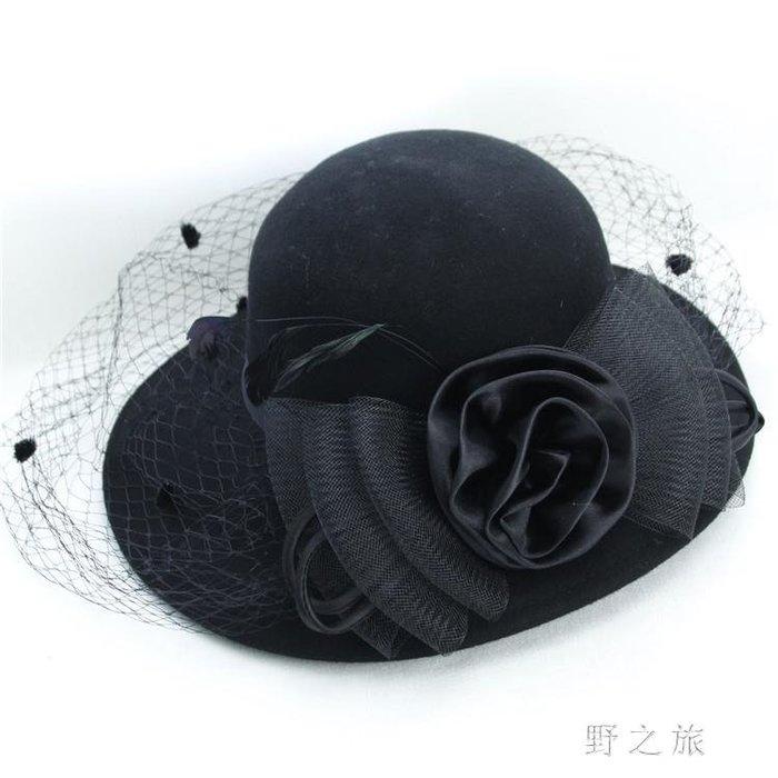 小禮帽  復古英倫帽毛呢帽子秋冬新款宴會女士網紗蝴蝶結韓版 MK10809