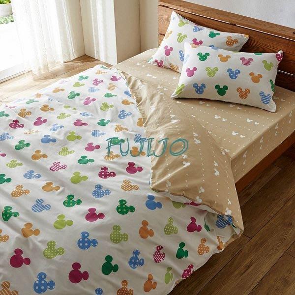 ~FUJIJO~日本存貨款~日本迪士尼限售【Mickey米奇】防塵螨系列 雙面圖案 100%純綿 雙人4件式床包組床組