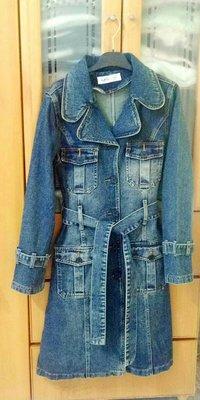 Riviere(日本製)  牛仔單寧綁帶長版洋裝外套 176 (藍色)