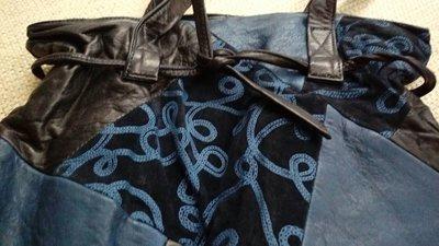 黑色深藍色小羊皮拼接長背包 Celine Chloe 可參考