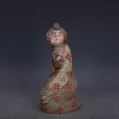 【三顧茅廬】唐代手工彩陶雕塑舞女俑美人俑 文物古瓷器古玩古董復古擺件