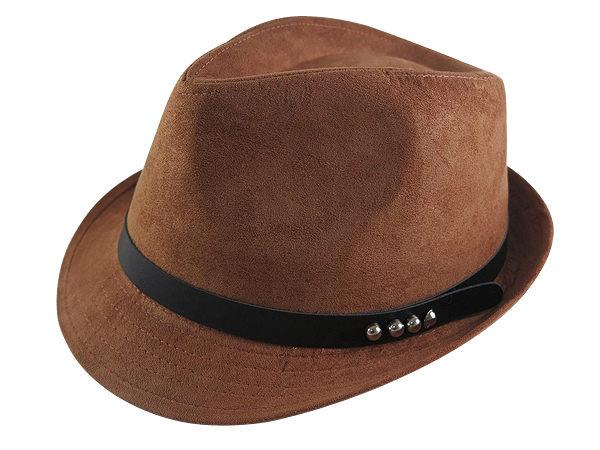 ☆二鹿帽飾☆ 秋冬限定/ 男帽女帽 -流行質感(4鉚釘黑皮帶)緞帶設計羊毛爵士帽-紳士帽-4色