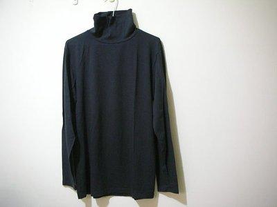 全新未穿 HANG TEN [ HT ]  WARM PLUS+ MADE IN TAIWAN 深暗鐵灰黑高領翻摺男發熱衣