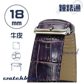 【鐘錶通】C1.22I《亮彩系列-手拉錶耳》鱷魚格紋-18mm 神秘紫┝手錶錶帶/皮帶/牛皮錶帶┥
