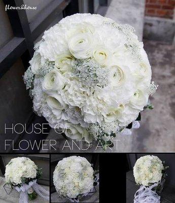 F32。季節限定白色戀人。歐式手綁新娘捧花。拍照捧花。自取價【Flower&House花藝之家】