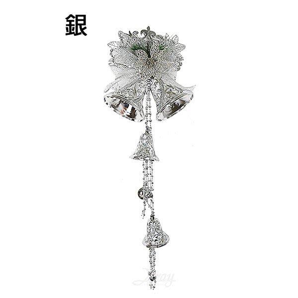 節慶王【X453274】5吋蝴蝶結雙鐘吊飾-銀,聖誕節/聖誕鐘串/蝴蝶結/鈴鐺/佈置/吊飾/掛飾