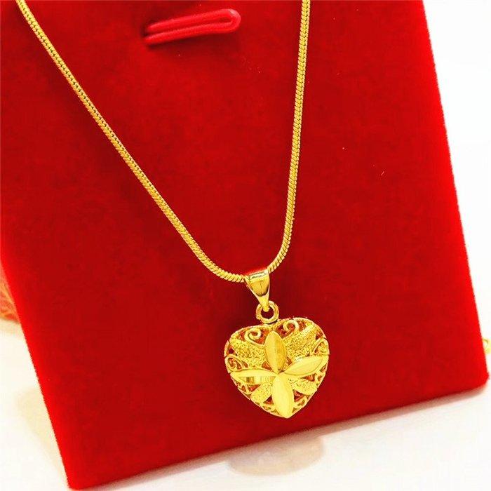 送禮佳品 新款仿金沙金項鏈女小鏤空桃心鍍金吊墜時尚黃銅首飾久不掉色