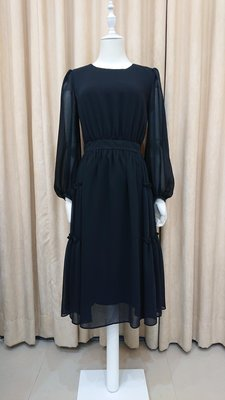 Rene 女裝 黑色雪紡紗洋裝 日本製Rene 34=MS GRACY38.40這件版型偏大?日本女主播最愛品牌?議可小議 全館免運?換季出清