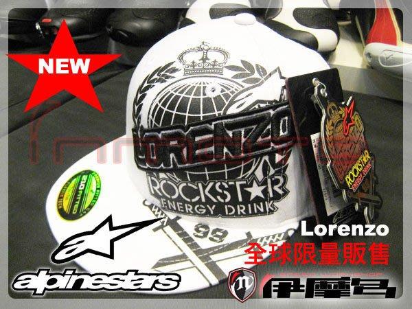 伊摩多※義大利 Alpinestars A星 棒球帽 布質 嬉哈帽 原廠 MotoGP 冠軍 Lorenzo 授權\Rockstar白