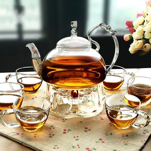 5Cgo【茗道】含稅會員有優惠 40963608017 歐式茶具套裝加厚耐熱玻璃壺品茗杯花茶壺養生直火防爆燒水壺
