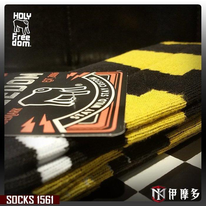 伊摩多※意大利 HOLY FREEDOM SOCKS 舒適長襪 - FLUSH款 個性圖紋 騎士 重機.黑黃1561