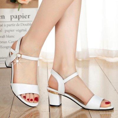 粗跟一字扣帶露趾高跟女士涼鞋百搭小碼羅馬中跟女鞋