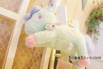 ˙TOMATO生活雜鋪˙日本進口雜貨Kikilala雙子星吉祥物獨角獸布偶絨毛收納包附背帶