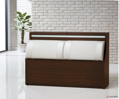【DH】商品貨號8-6名稱《和風》胡桃色6尺床頭箱(圖一)可掀開置物.備有五尺.橡木色可選.台灣製.可訂做主要地區免運費