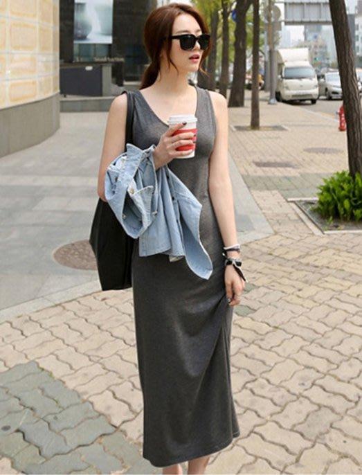 幸福孕婦裝✨【J16043】U領舒適棉素色背心裙 長裙 孕婦裝 連身裙 洋裝